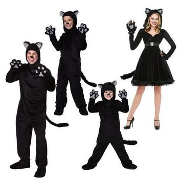 Cool Black Cat Cosplay Costume Halloween Christmas Family Matching Clothing Boy Girl Fancy Sets Navidad Family Matching ClothesAT_93_12