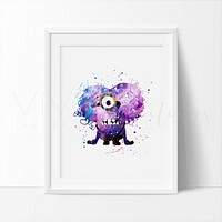Purple Minion Watercolor Art Print