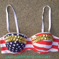 Studded Bustier Bra Top 32A American Flag Print  - Silver- Gold - or- Black Studs