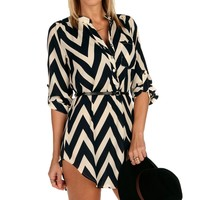 Sale-navy Chevron Belted Tunic