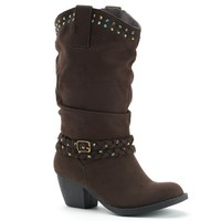 Unionbay Ginger Girls' Slouch Western Boots