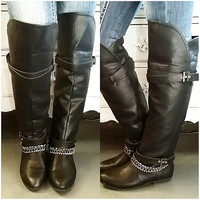 STRAPPED AND READY BOOTS IN BLACK