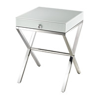 Lazy Susan White Glass Side Table - 1141106
