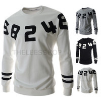 Number Print Men's Street Design Sweat Shirt