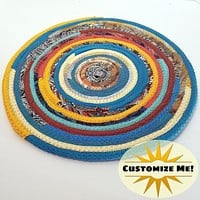 M2O Multicolor Kitchen Table Mat, Sunrise, Southwestern (Exact Colors Vary), Round Fabric Placemat