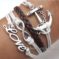 Lovers Bracelet -- Unisex fashion silver anchor and  loving heart, love brown and white wax rope braided leather bracelet