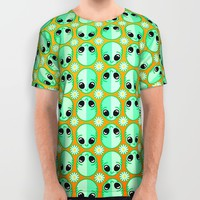 Happy Alien and Daisy Nineties Grunge Pattern All Over Print Shirt by Chobopop