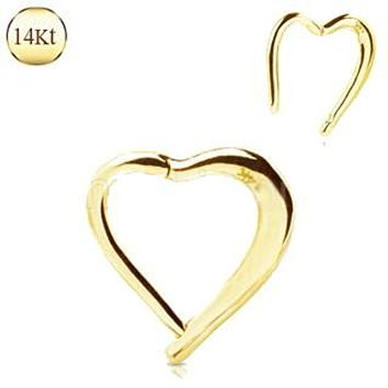 14Kt. Yellow Gold Lovely Heart Seamless Clicker Ring