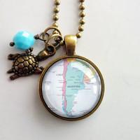Map of Argentina Necklace - Buenos Aires Pendant - South America - Custom Jewelry - Travel Necklace - You Choose Bead, Charm - Personalized