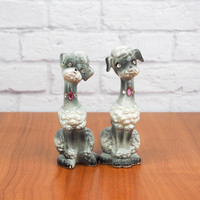 Vintage ENESCO Poodle Salt & Pepper Shakers, Gray and White Dogs with Pink Rhinestone Collars