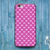 iPhone 4 4s 5 5s 5c 6 6s plus iPod Touch 4th 5th 6th Generation Pretty Pink White Butterfly Pattern Girly Girl Grad Gift Dream Case Cover +