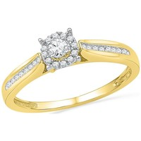 10kt Yellow Gold Womens Round Diamond Solitaire Bridal Wedding Engagement Ring 1/6 Cttw 100460