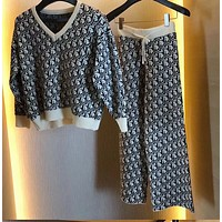 Dior New fashion more letter print long sleeve top cardigan and pants pajamas two piece suit