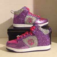 Custom Purple and PInk Baby Phat Girls Glitter High Top Sneakers Size 3