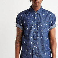 Anchor Print Denim Shirt