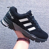 ADIDAS Fashion Women Men Sports Shoes Colorful Line Sneakers Black White