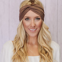 Taupe Turban Headband Stretchy Cotton Workout Fashion Hair Band (T02)
