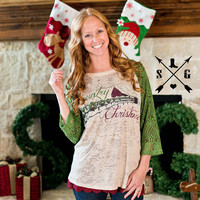 Country Christmas Lace Raglan