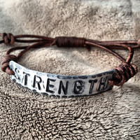 STRENGTH  ID Bracelet, silver, leather, Hand Stamped, Inspirational jewelry, bracelet with words,