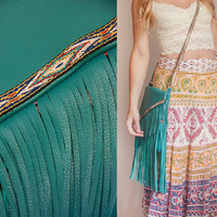 Turquoise Leather Fringe Purse | Large Handmade Crossbody Leather Fringe Bag | Boho Festival Messenger Bag | Fringe Purse | Fringe HandBags