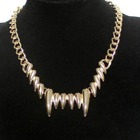 Gold Tooth Teeth Necklace, Punk Gold Chunky Curb Chain Necklace, Bridesmaids Friendship Gifts, Graduation Birthday Trending Accessories