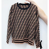 Fendi Autumn And Winter Fashion New More Letter Long Sleeve Top Sweater Khaki
