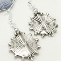 Sterling Concentric Circle Design Beaded Earrings Metallic Bali Beads