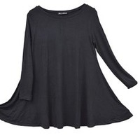 Sin+Sinners Women's Long Sleeved Drape Flowing Hem Relaxed Tunic Top (A003) Black