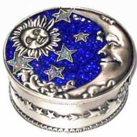 Welforth Pewter Moon & Star Jewelry Box (Blue & Yellow)