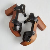 Boho What's Up, Dock? Heel in Black by ModCloth