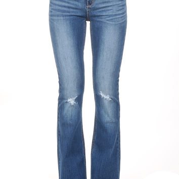 """9"""" High Rise Knee Distressed Flare"""