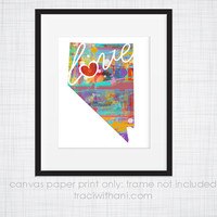 Nevada Love - NV Canvas Paper Print:  Grunge, Watercolor, Rustic, Whimsical, Colorful, Digital, Silhouette, Heart, State, US
