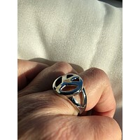 Vintage Peace Sign stainless steel band Ring