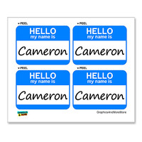 Cameron Hello My Name Is - Sheet of 4 Stickers