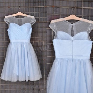 Light Blue Short Prom Dresses, Fashion Prom Dress,Party Dresses, Evening Dresses, Wedding Party Dresses,Cocktail Dress,Bridesmaid Dresses