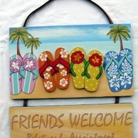 Flip Flops Friends Welcome Relatives by Appointment Funny Wooden Wall Sign Decor