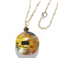 Murano Glass Colorful Topaz Yellow Disc Pendant Necklace
