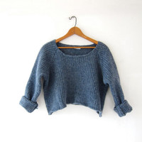Vintage cropped sweater. Chunky knit sweater. Wool sweater. Blue knit jumper.