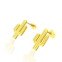 Gold Silver Summer Style Stainless Steel Dainty Cactus Statement Stud Earrings For Women Bridesmaid Gift BFF Jewelry