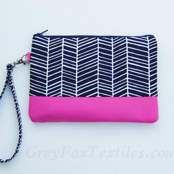 Midnight blue chevron Wristlet / Clutch / Cosmetic Case in Navy Blue and Hot Pink / Fuchsia