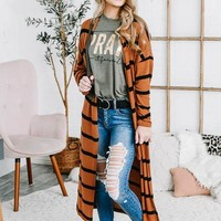 Striped Open Front Duster | Chocolate