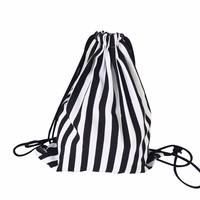 lady backpacks Women Black and White Stripe Printing Drawstring Beam Port Backpack Shopping Travel Beach Casual Bags 2017