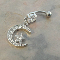 Belly Button Ring Silver Crescent Moon and Star