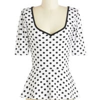 ModCloth Vintage Inspired Mid-length 3 Peplum Giddy City Top in Polka Dots