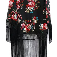 Red and Black Floral Print Fall Style Kimono