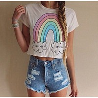 Rainbow round neck short-sleeved T-shirt printing