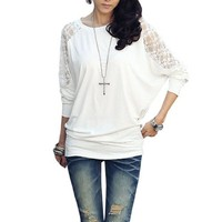 Woman Long Sleeve Scoop Neck Lace Patchwork Back Shirt