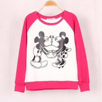 Disney Mickey and Minnie Mouse Love Cute Round Neck Women Casual Sweatshirt Shirt Top blouse T-shirt b4150