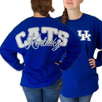UK Kentucky Wildcats Women's Logo Spirit Jersey Sweeper Long Sleeve Oversized Top Shirt
