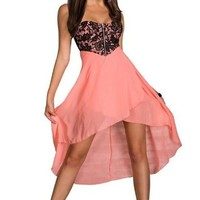 made2envy Charming Chiffon Skirt, Sequined or Lace Top Asymmetric Long Dress